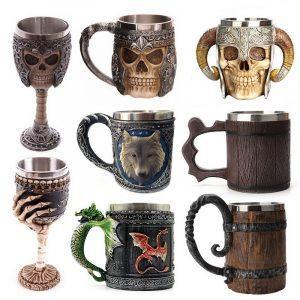 Bierpul | Viking Mug | Biermok | Kunststof Bierpul | Viking Mok | Viking Drinkbeker | Viking Beker | Biermok | Bier Mok | Halloween Mok | Doodskop Beker | Skull Beker | Skull Mok | Houten Biermok | Houten Biermok | Schedel Beker | Schedel Mok