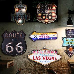 Vintage/Retro/Antiek LED Reclamebord | Verlicht Metalen Reclamebord
