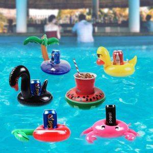 Opblaasbare Bekerhouder   Drijvende Beker Houder – Flamingo, Palmboom, Donut, Eend & Zwaan