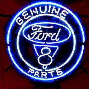 Business Custom NEON SIGN board Forautomobile Ford V8 Motor Company REAL GLASS Tube BEER BAR PUB Club Shop Light Signs 16*15″