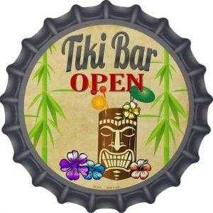 tiki-bar-open-wandbord-30-cm-rond-plat-met-flessendop-look